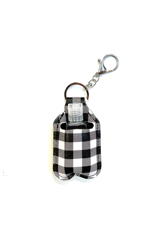 Lauren Rae Black & White Buffalo Plaid Hand Sanitizer Bottle Key chain