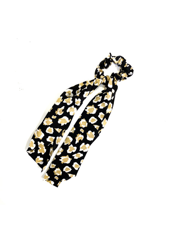 Lauren Rae Black Cheetah Scrunchie  Ribbon Tail