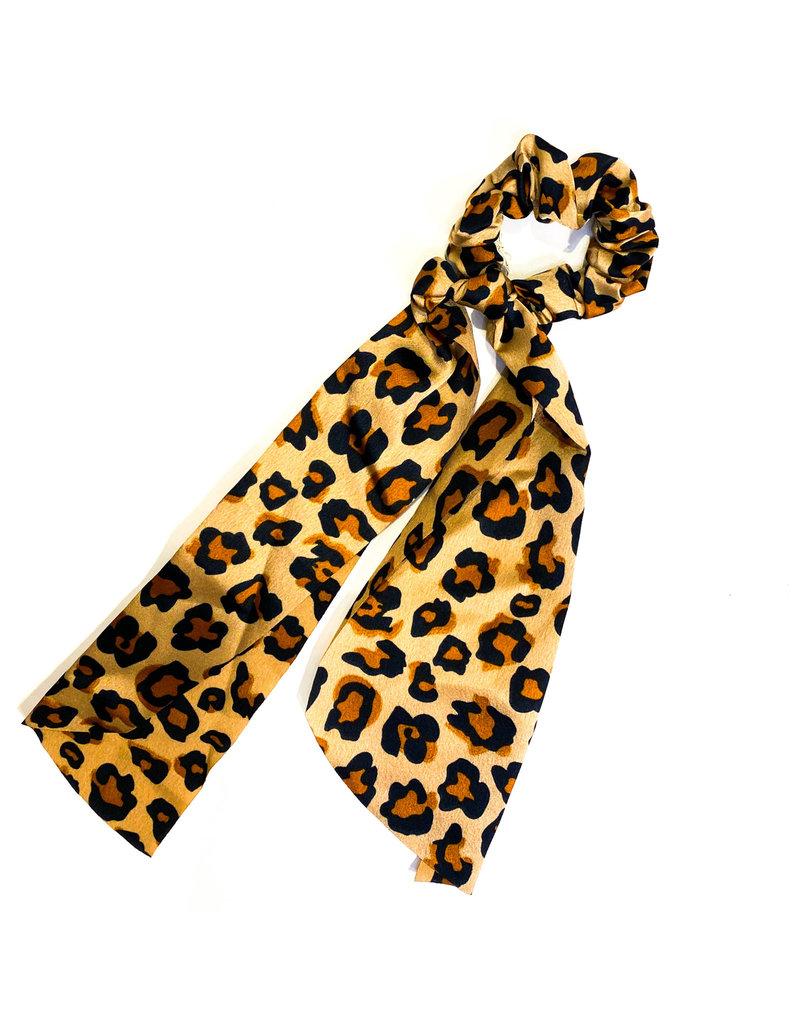 Lauren Rae Camel Cheetah Scrunchie Ribbon Tail
