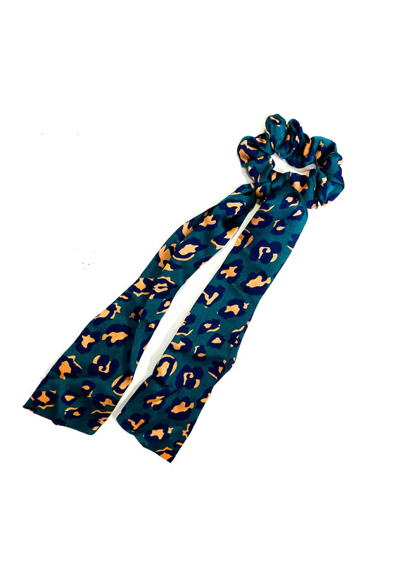 Lauren Rae Green Cheetah Scrunchie Ribbon Tail