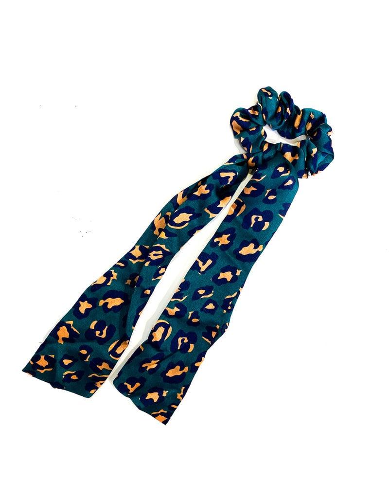 Lauren Rae Green Cheetah Scrunchie Ribbon Tail