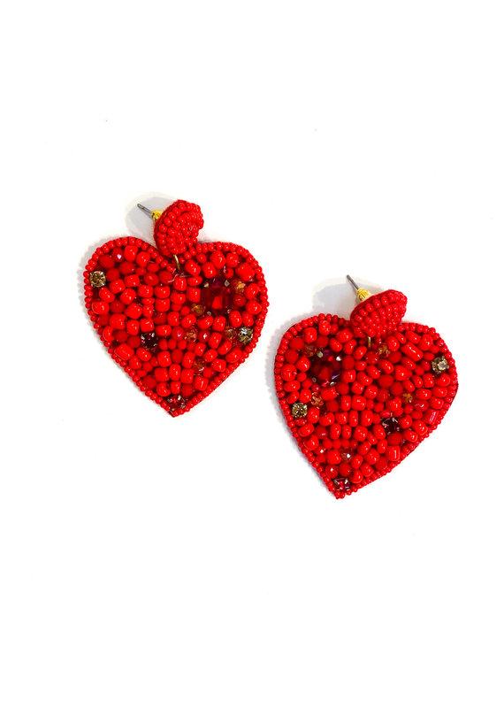 Lauren Rae Hand Beaded Red Heart Earrings