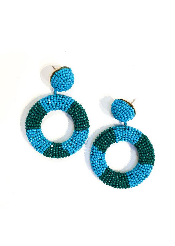 Lauren Rae Blue & Turquoise Beaded Circle Drop Earrings