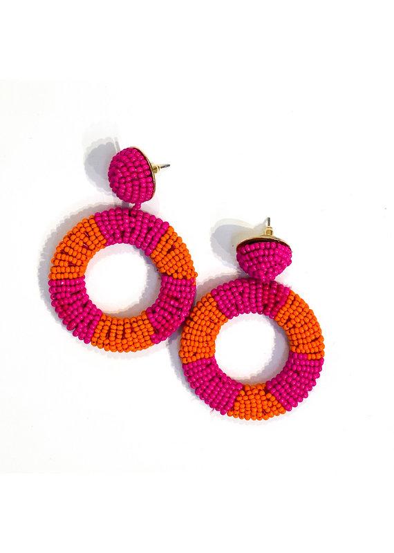 Lauren Rae Pink & Orange Beaded Circle Drop Earrings