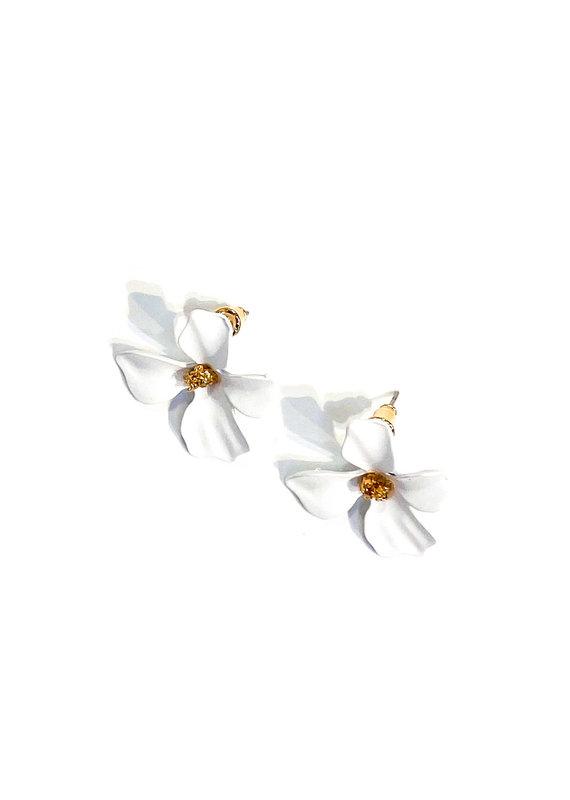 Lauren Rae White Simple Flower Earrings
