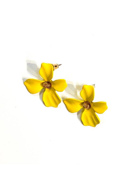 Lauren Rae Yellow Simple Flower Earrings