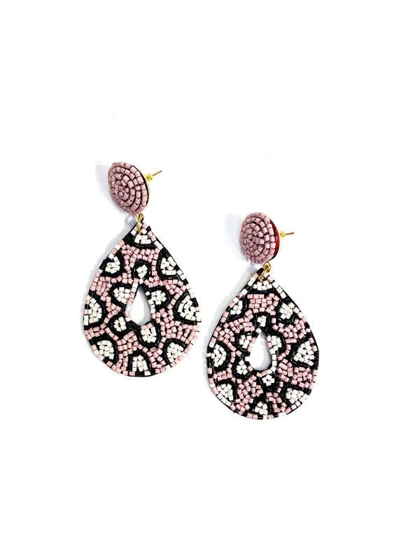 Lauren Rae Pink Leopard Beaded Teardrop Earrings