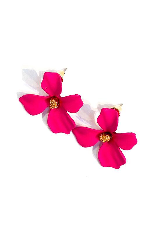 Lauren Rae Hot Pink Simple Flower Earrings