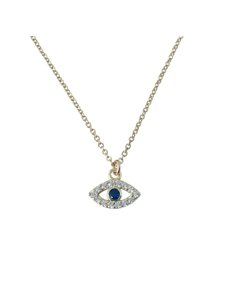 Modern Opus Gold Baby Sapphire Evil Eye Necklace