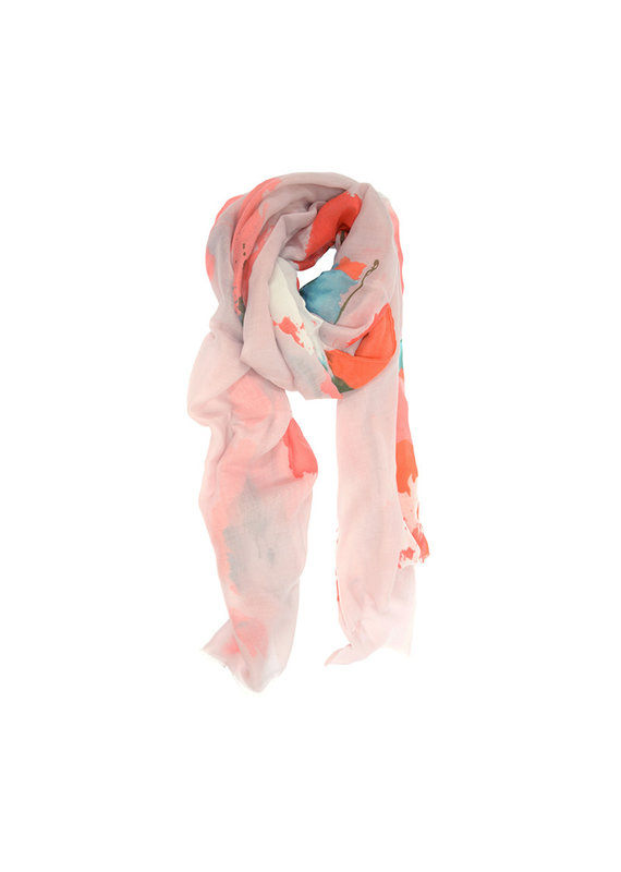 Joy Susan Coral Watercolor Floral Oversized Scarf