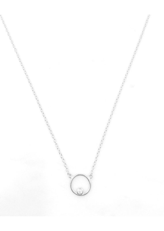 iiShii Designs Sterling Silver  Floating CZ Circle Necklace
