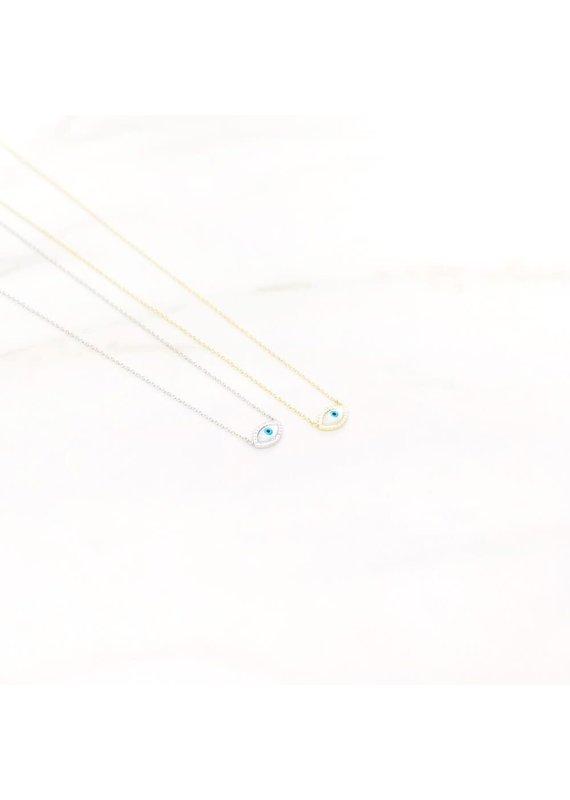 iiShii Designs 14k Gold Plated Evil Eye Necklace