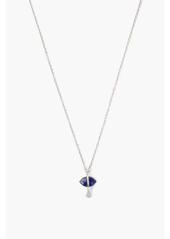 CHAN LUU Lapis Evil Eye And Sliced Diamond Charm Necklace