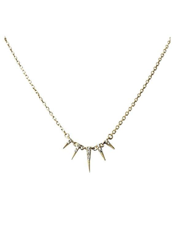 Modern Opus Gold CZ Spike Necklace