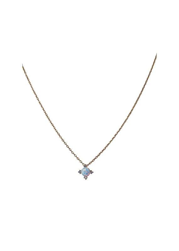 Modern Opus Gold CZ & Opal Necklace