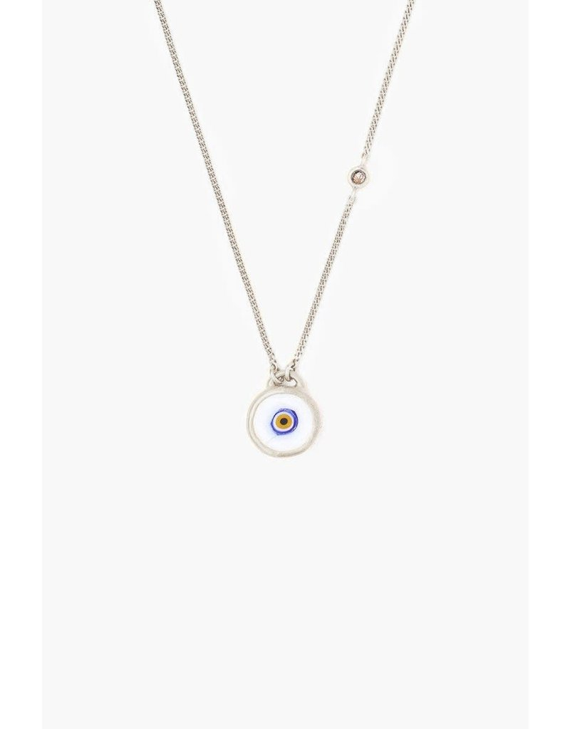 CHAN LUU Sterling Silver White Evil Eye Necklace With Champagne Diamond