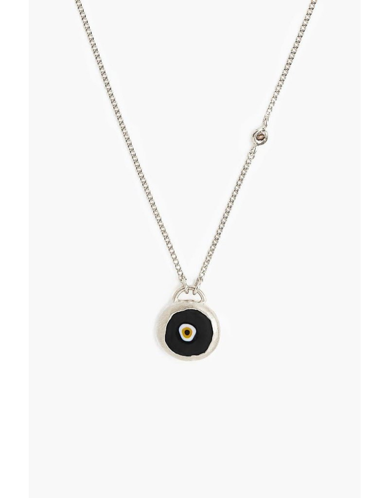 CHAN LUU Sterling Silver Black Evil Eye Necklace With Champagne Diamond