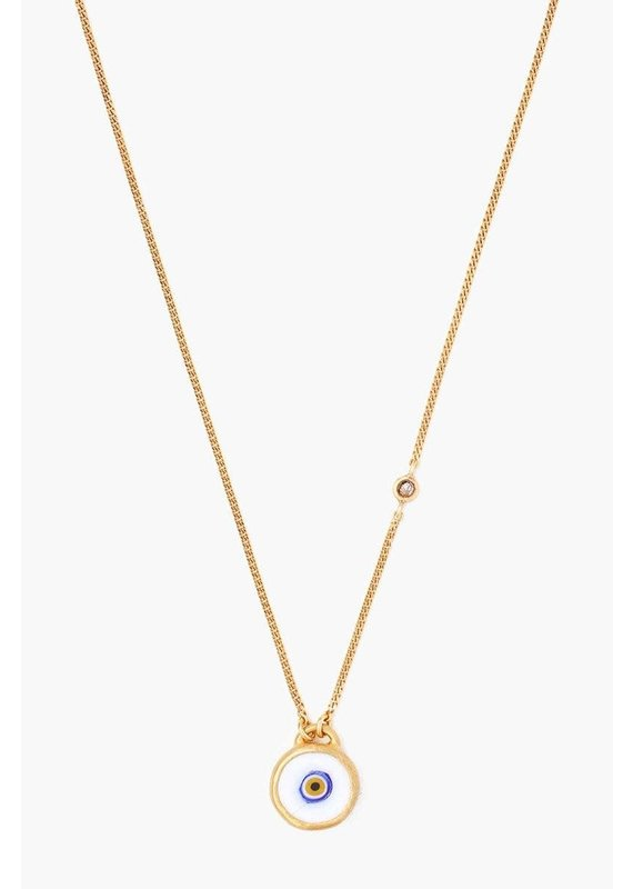 CHAN LUU Gold & White Evil Eye Necklace With Champagne Diamond