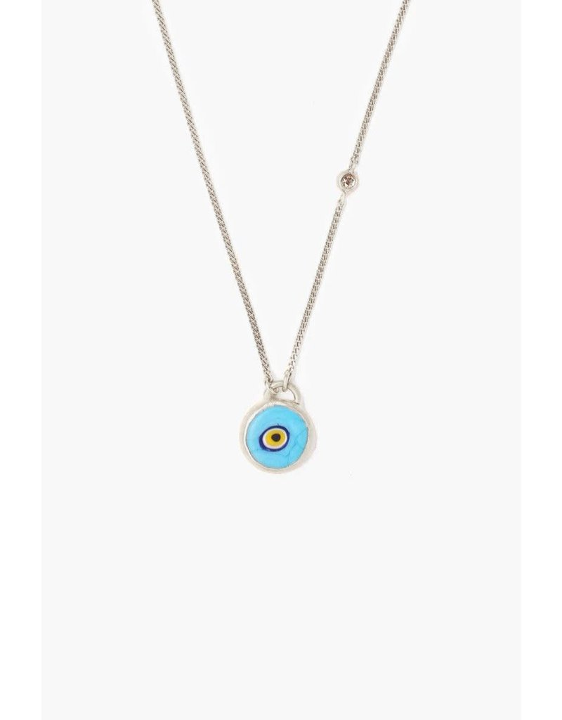 CHAN LUU Sterling Silver Turquoise Evil Eye Necklace With Champagne Diamond