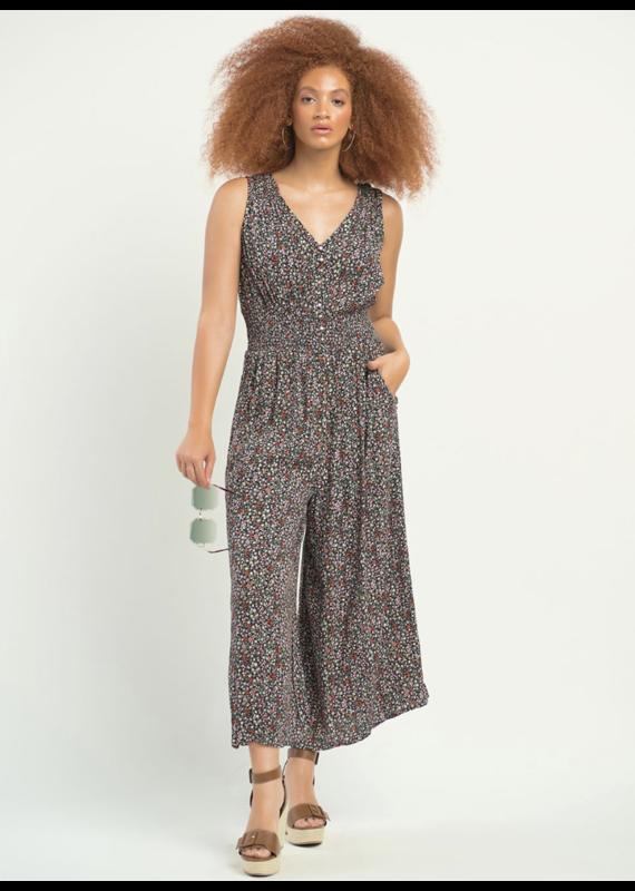 Dex Smocked Waist Printed Jumpsuit