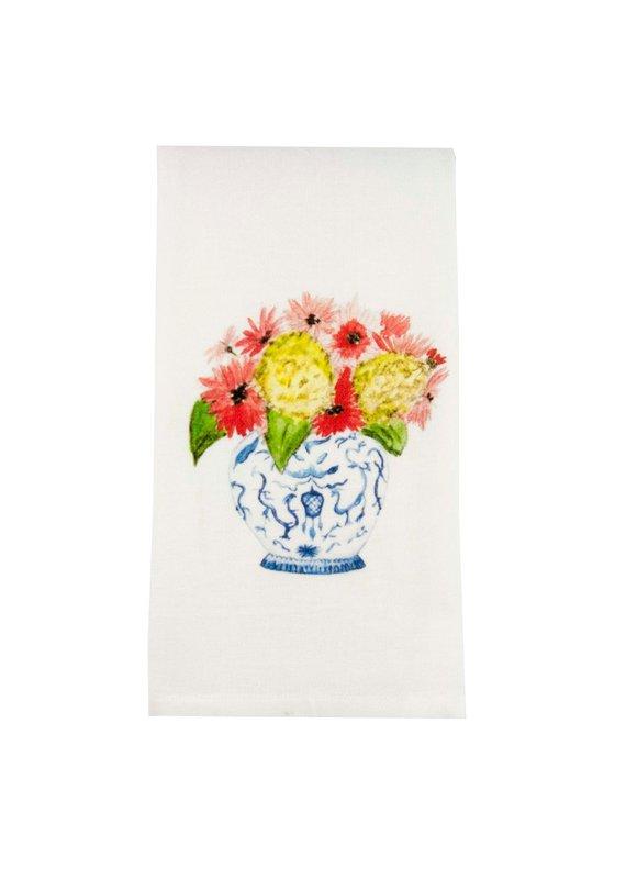 French Graffiti Ginger Jar Bouquet Dishtowel