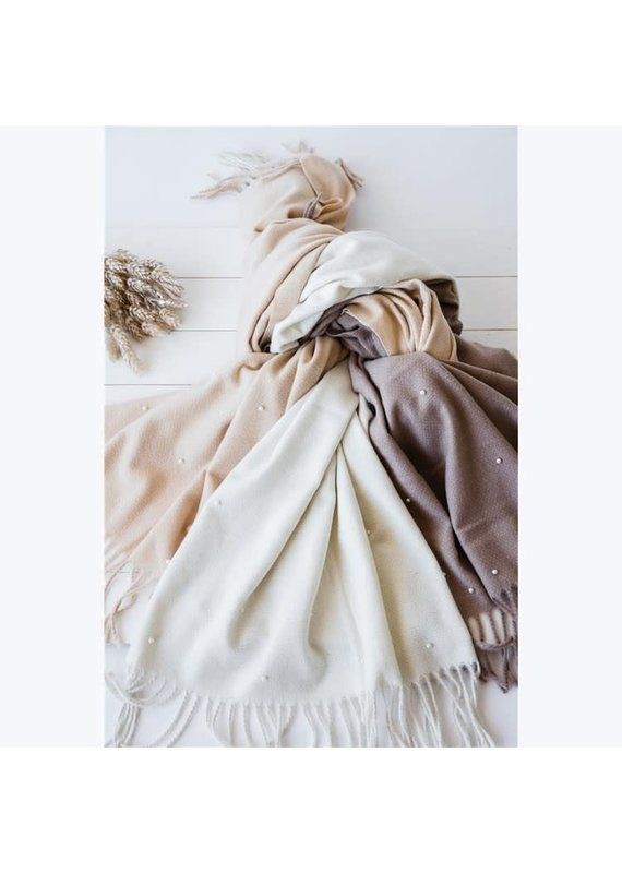 Victoria Leland Wide Fringe Scarf with Pearls