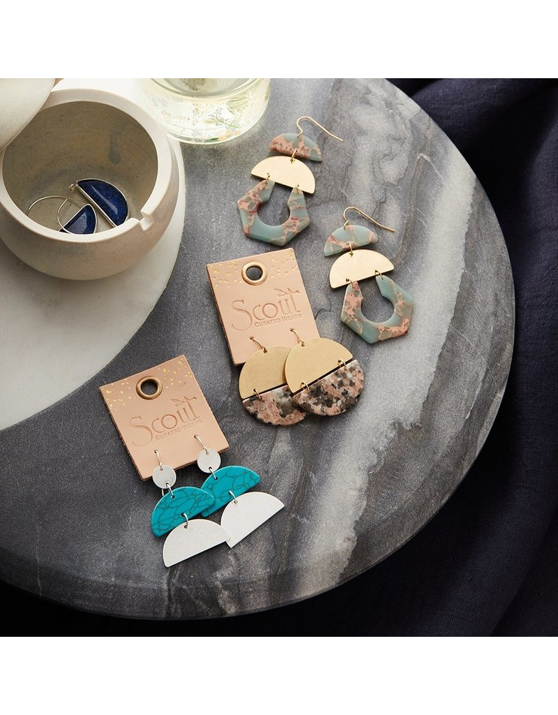 Scout Turquoise & Silver Half Moon Earring