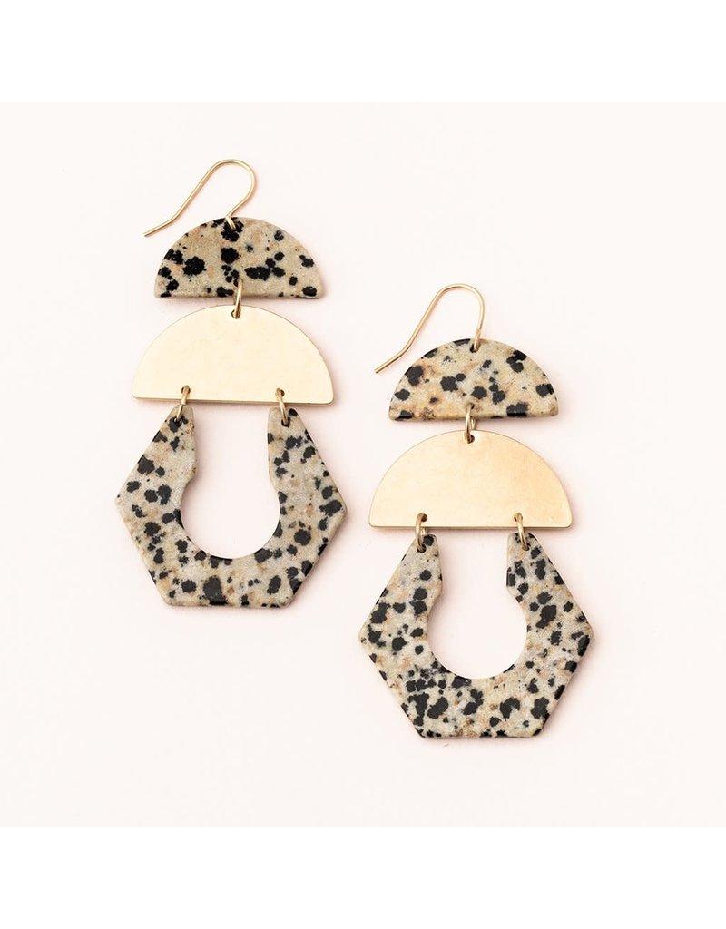 Scout Dalmatian Jasper & Gold Stone Cutout Earrings