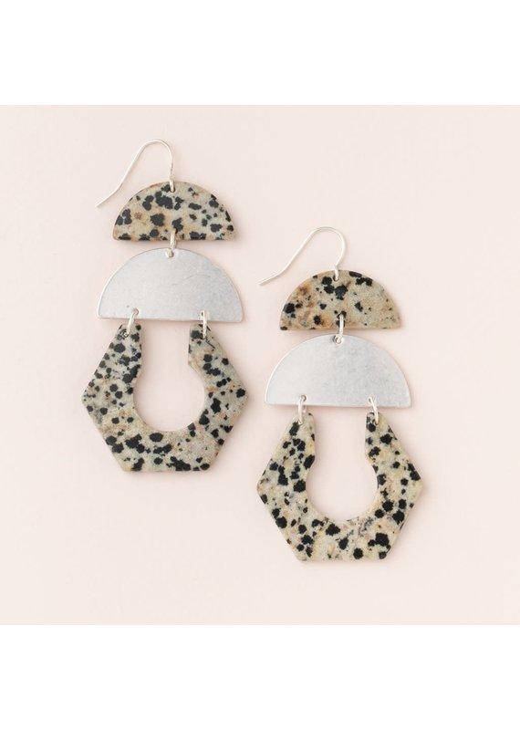 Scout Dalmatian Jasper & Silver Stone Cutout Earrings