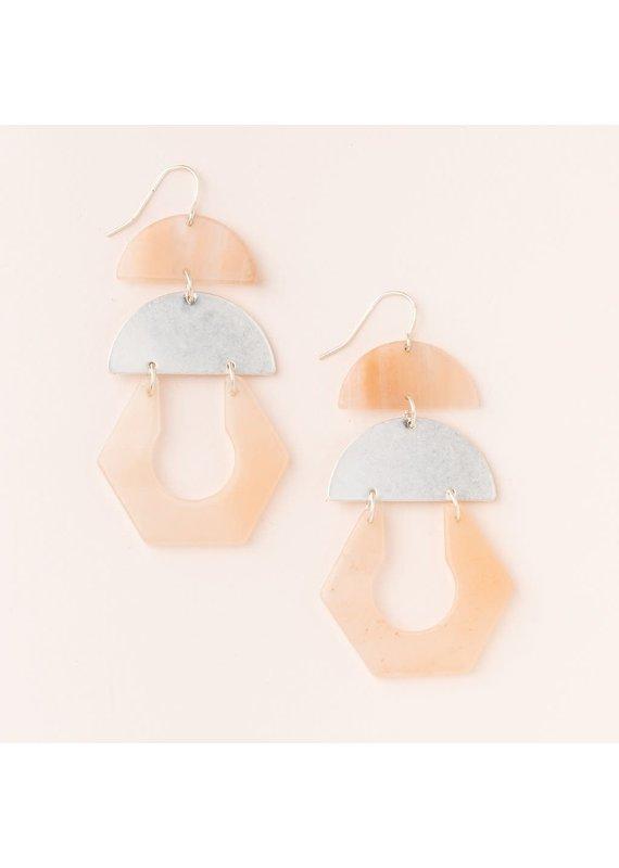 Scout Sunstone & Silver Stone Cutout Earrings