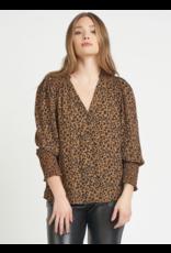 Dex Leopard V-Neck Smocked Shoulder Blouse