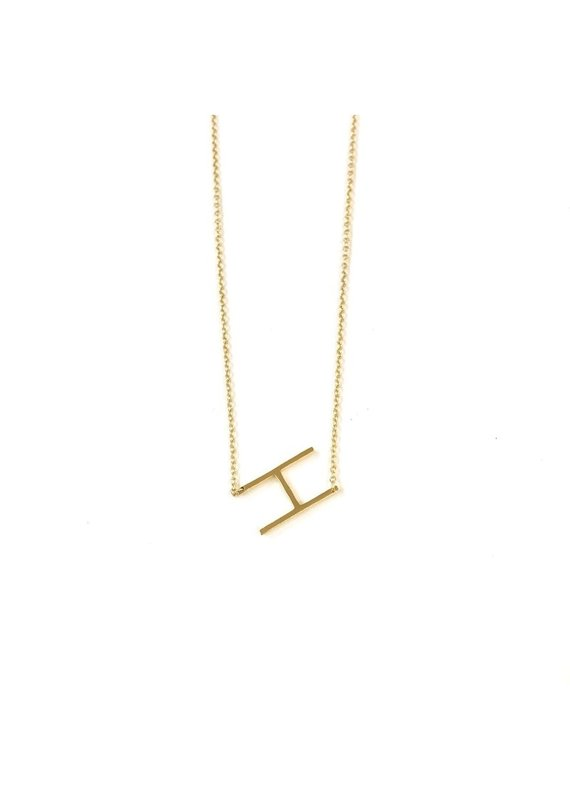 Modern Opus 14K Gold Plated Initial Necklace H