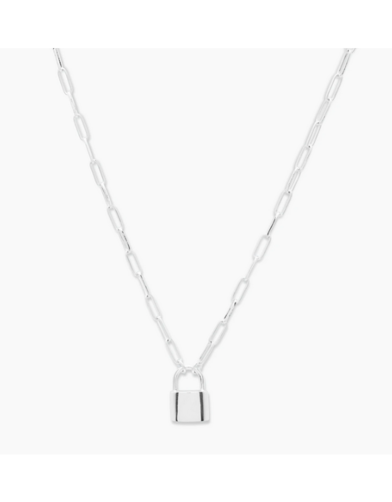 gorjana Kara Padlock Charm Necklace Silver