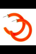 Lauren Rae Neon Orange Resin Hoop Earrings