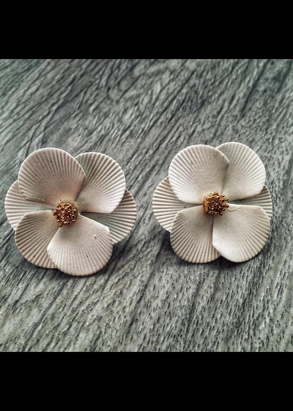 Lauren Rae White Flower Stud Earrings