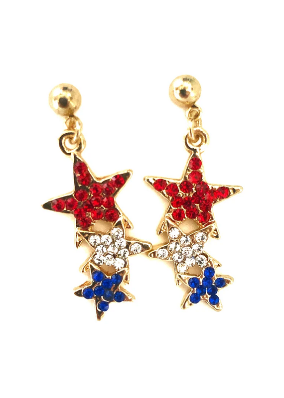 Lauren Rae Gold Red White and Blue Three Star Drop Earrings