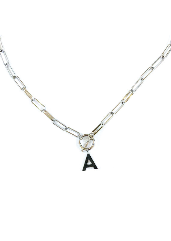 Natalie Wood Designs Silver Toggle Initial Necklace