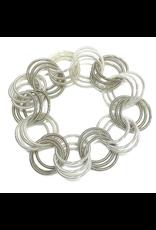 Sea Lily Silver & White Spring Ring Bracelet