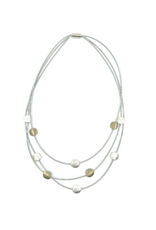 Sea Lily Silver & Gold 3 Strand Tier Necklace