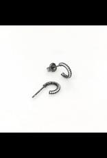 iiShii Designs Black Pave Post Hoops