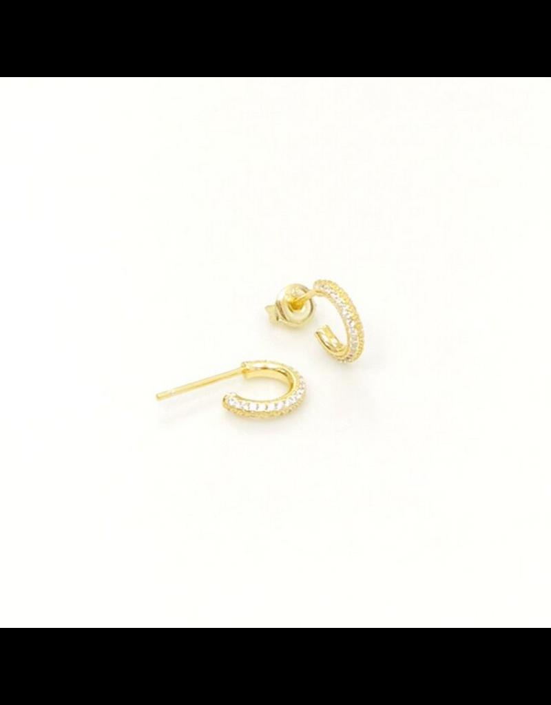 iiShii Designs Gold Pave Post Hoops