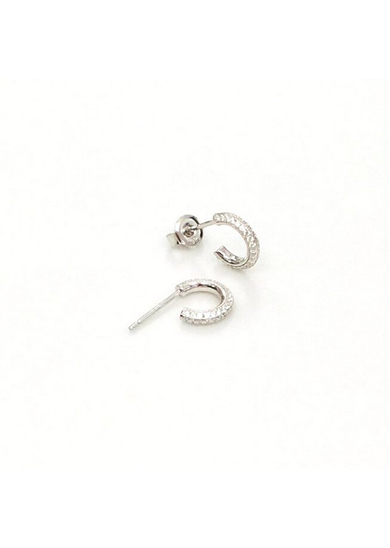 iiShii Designs Silver Pave Post Hoops