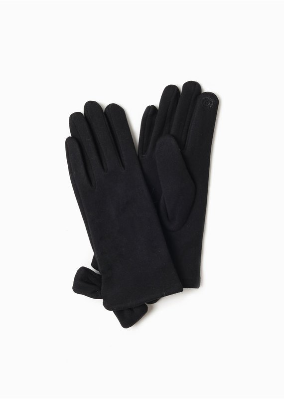 Look By M Basic Ribbon Gloves in Black