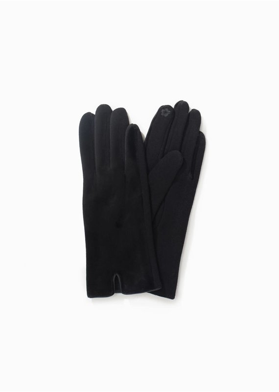 Look By M Soft Brushed Fur Gloves in Black