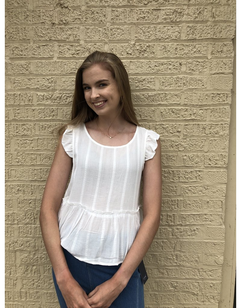 KLd Signature Ruffled Top w Double Tie Back