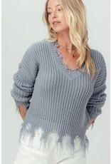 Urban Daizy Frayed Hem Crochet Light Blue Knit