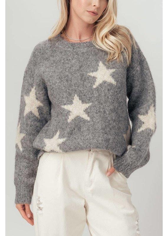 Urban Daizy Fuzzy Knit Grey Star Print Sweater