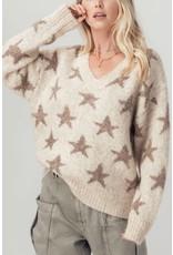 Urban Daizy Star V-Neck Oatmeal Knit Sweater