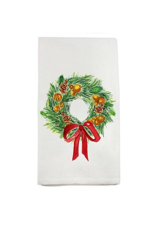 French Graffiti Christmas Wreath Dishtowel