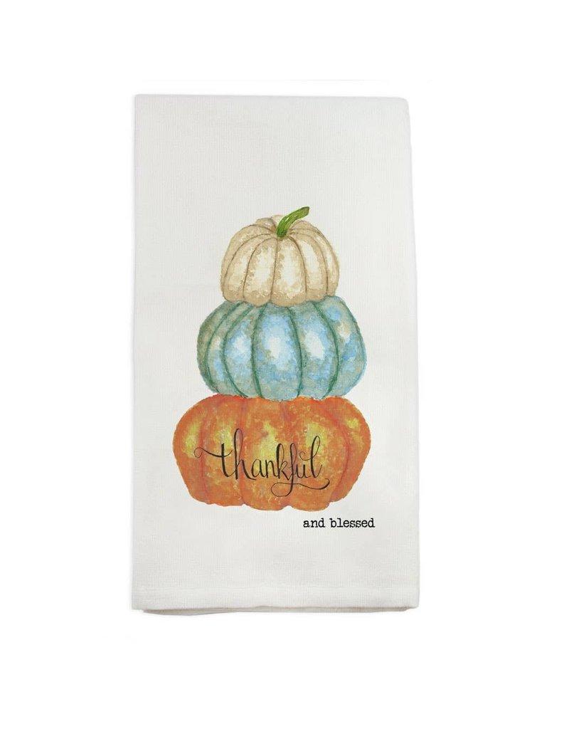 French Graffiti Pumpkins Thankful and Blessed Dishtowel